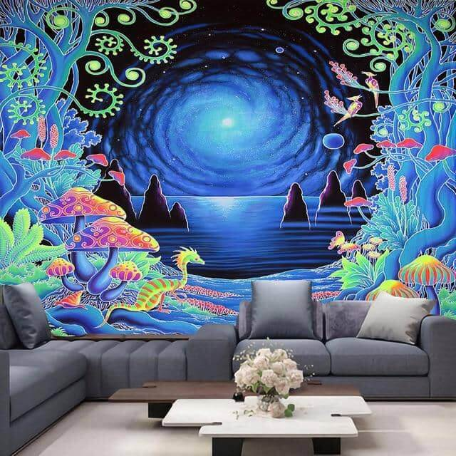 Psychedelic Reflecting Galaxy Across the Water Tapestry