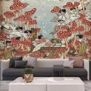 Swimming Among The Mushrooms Tapestry