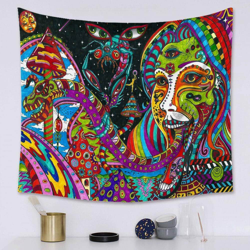 Psychedelic Snake Tongue Tapestry