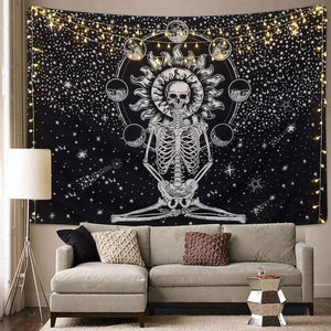Meditating Skeleton Tapestry