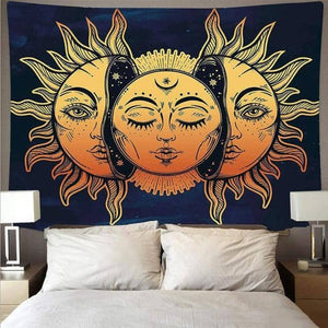 Internal Yellow Moon of the Sun Tapestry