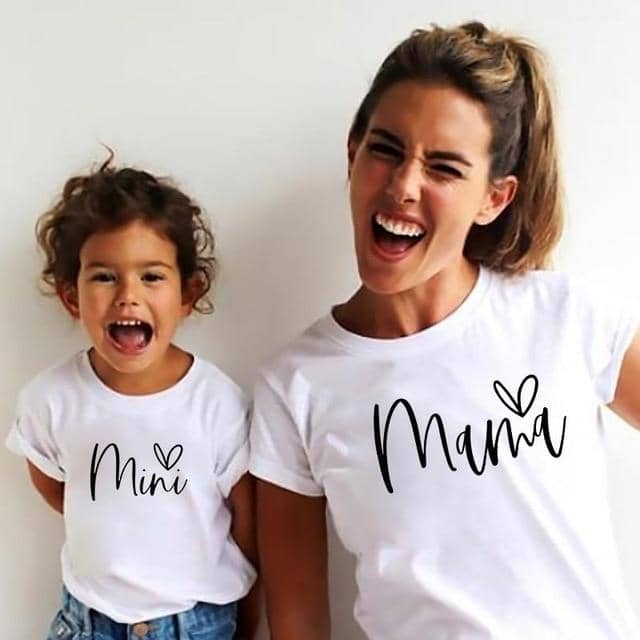 Cute Matching Mini Mama Mother & Daughter Shirts