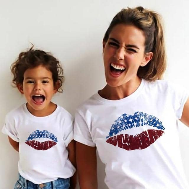 Cute Matching Lips Mother & Daughter Shirts