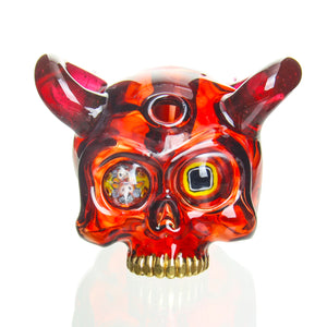 Sweeney Glass - Kapala Skull w/ Horns & Millie Eyes - Pomegranate & Gold Ruby