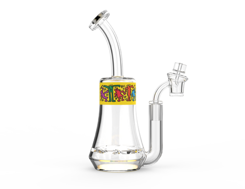Keith Haring Glass - Concentrate Rig - Multi Yellow