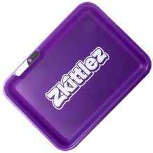 Load image into Gallery viewer, Glow Tray x Zkittlez Rolling Tray - Purple