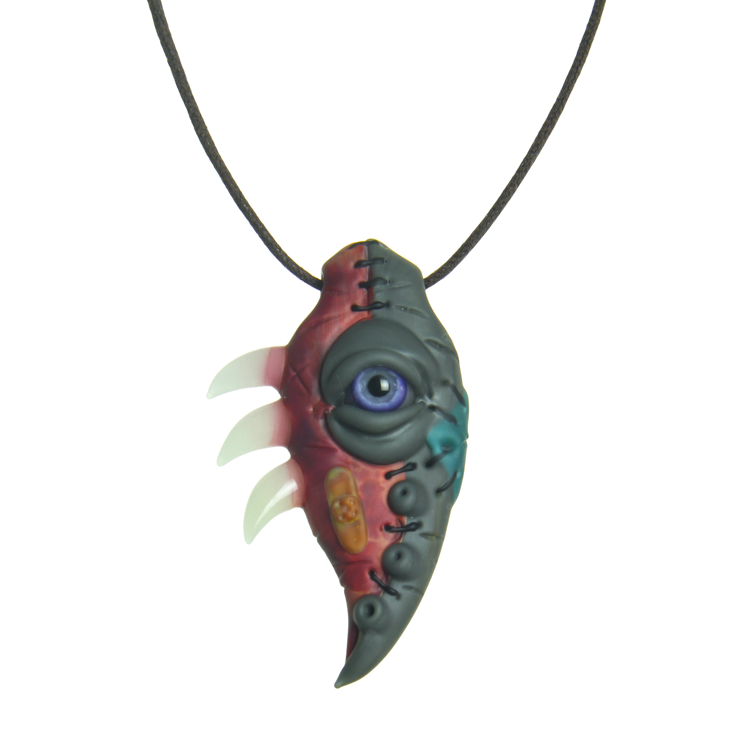 Arthwick Store Futuristic Rendition of a Brain with Various Orbs of Color Pendant Necklace