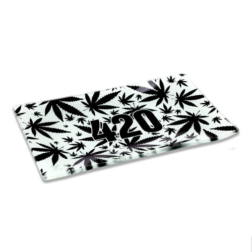 V Syndicate - Medium Glass Rolling Tray - 420 Black & White