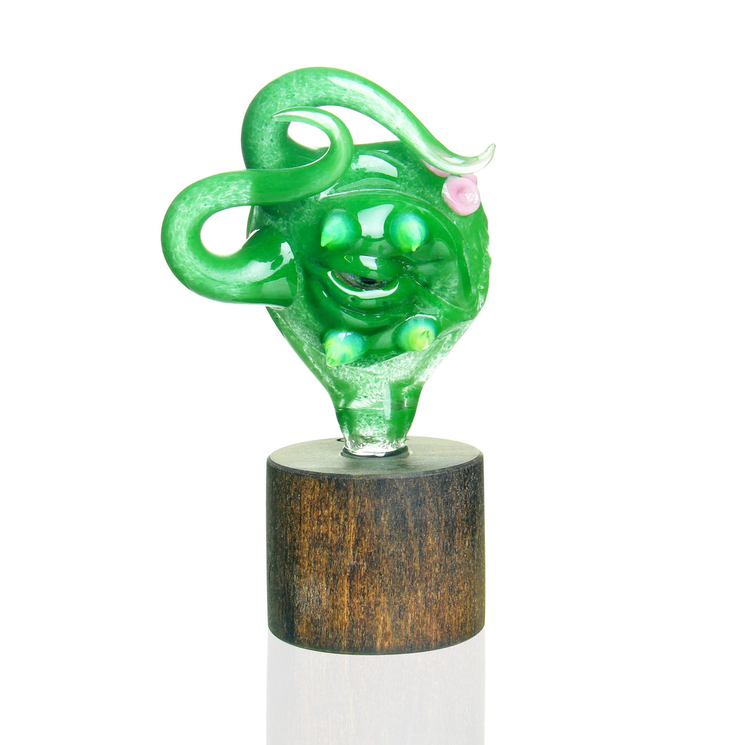 Salt Glass -14mm 3 Hole Creature Slide - Green