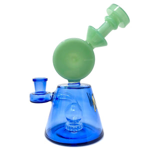 "AFM - 7"" Two Tone Showerhead Bubbler - Sea Foam Green & Cobalt Blue"