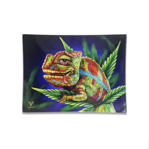 V Syndicate - Small Glass Rolling Tray - Cloud 9 Chameleon