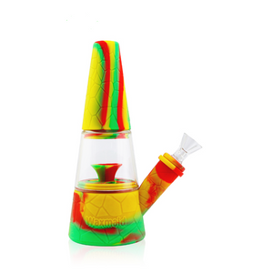 "Waxmaid - 8"" Fountain Silicone Hybrid Water Pipe - Rasta"
