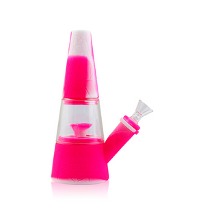 "Waxmaid - 8"" Fountain Silicone Hybrid Water Pipe - White & Pink"