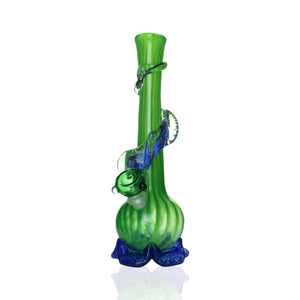 Noble Glass - Small Bong - Green & Blue Dichro Swirl
