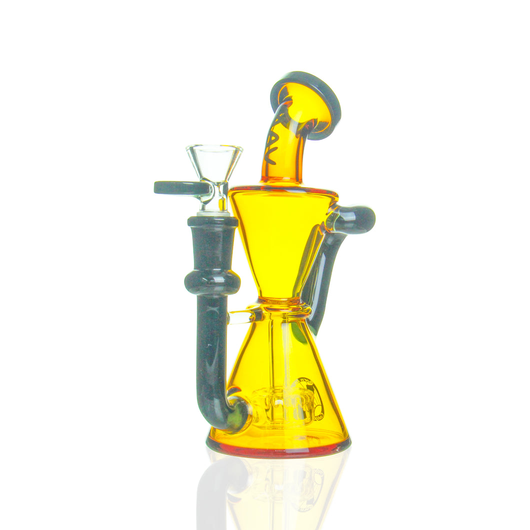 MAV Glass - Mini Hourglass Recycler - Amber & Black