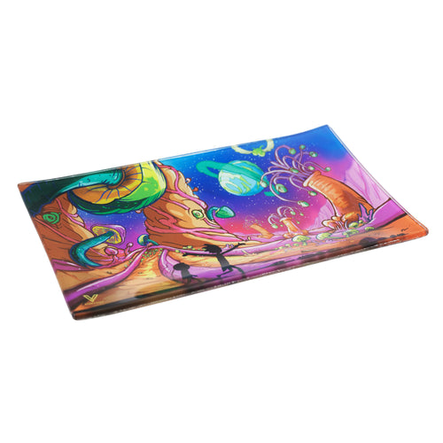 V Syndicate - Medium Glass Rolling Tray - Dimensional Shift