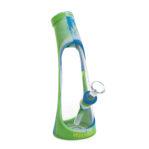 Waxmaid - Horn Silicone & Glass Water Pipe - Green, Blue & White