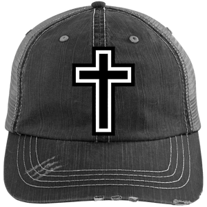 CustomCat Adjustable Strap Hat Black/Grey / One Size The Cross 6990 Distressed Unstructured Trucker Cap (7 Variants)