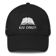 Load image into Gallery viewer, American Patriots Apparel Adjustable Strap Hat Black KJV Only! (WHITE TEXT) Multiple Bible Verses (WHITE TEXT) Adjustable Strap Hat (6 Variants)