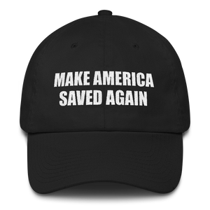 American Patriots Apparel Adjustable Strap Hat Black MAKE AMERICA SAVED AGAIN 1 Cor. 15:1-4 Adjustable Strap Hat (5 Variants)