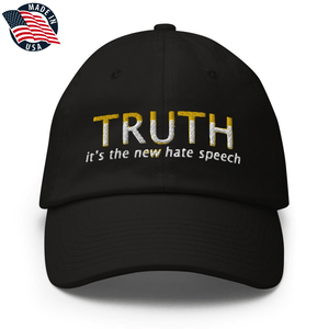 American Patriots Apparel Adjustable Strap Hat Black TRUTH It's The New Hate Speech White & Yellow Text Adjustable Strap Hat (7 Variants)