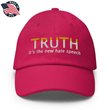 Load image into Gallery viewer, American Patriots Apparel Adjustable Strap Hat Bright Pink TRUTH It's The New Hate Speech White & Yellow Text Adjustable Strap Hat (7 Variants)