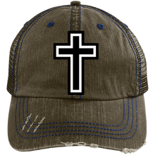 Load image into Gallery viewer, CustomCat Adjustable Strap Hat Brown/Navy / One Size The Cross 6990 Distressed Unstructured Trucker Cap (7 Variants)