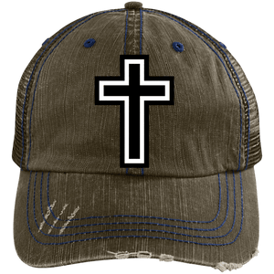 CustomCat Adjustable Strap Hat Brown/Navy / One Size The Cross 6990 Distressed Unstructured Trucker Cap (7 Variants)