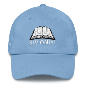American Patriots Apparel Adjustable Strap Hat Carolina Blue KJV Only! (WHITE TEXT) Multiple Bible Verses (WHITE TEXT) Adjustable Strap Hat (6 Variants)