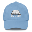 Load image into Gallery viewer, American Patriots Apparel Adjustable Strap Hat Carolina Blue KJV Only! (WHITE TEXT) Psalm 12:6-7 (WHITE TEXT) Adjustable Strap Hat (6 Variants)