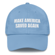 Load image into Gallery viewer, American Patriots Apparel Adjustable Strap Hat Carolina Blue MAKE AMERICA SAVED AGAIN 1 Cor. 15:1-4 Adjustable Strap Hat (5 Variants)