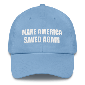 American Patriots Apparel Adjustable Strap Hat Carolina Blue MAKE AMERICA SAVED AGAIN 1 Cor. 15:1-4 Adjustable Strap Hat (5 Variants)