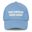 Load image into Gallery viewer, American Patriots Apparel Adjustable Strap Hat Carolina Blue Make America Saved Again God Bless America Adjustable Strap Hat (5 Variants)