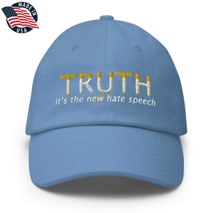 American Patriots Apparel Adjustable Strap Hat Carolina Blue TRUTH It's The New Hate Speech White & Yellow Text Adjustable Strap Hat (7 Variants)