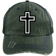 Load image into Gallery viewer, CustomCat Adjustable Strap Hat Dark Green/Navy / One Size The Cross 6990 Distressed Unstructured Trucker Cap (7 Variants)