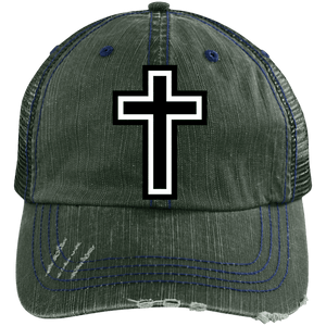 CustomCat Adjustable Strap Hat Dark Green/Navy / One Size The Cross 6990 Distressed Unstructured Trucker Cap (7 Variants)