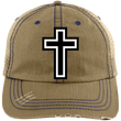 Load image into Gallery viewer, CustomCat Adjustable Strap Hat Khaki/Navy / One Size The Cross 6990 Distressed Unstructured Trucker Cap (7 Variants)