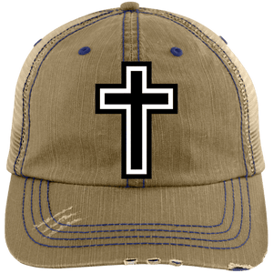 CustomCat Adjustable Strap Hat Khaki/Navy / One Size The Cross 6990 Distressed Unstructured Trucker Cap (7 Variants)