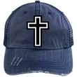 Load image into Gallery viewer, CustomCat Adjustable Strap Hat Navy/Navy / One Size The Cross 6990 Distressed Unstructured Trucker Cap (7 Variants)