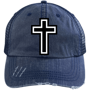CustomCat Adjustable Strap Hat Navy/Navy / One Size The Cross 6990 Distressed Unstructured Trucker Cap (7 Variants)