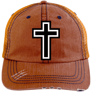 CustomCat Adjustable Strap Hat Orange/Navy / One Size The Cross 6990 Distressed Unstructured Trucker Cap (7 Variants)