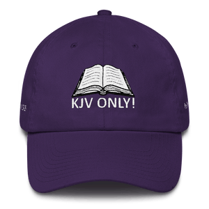 American Patriots Apparel Adjustable Strap Hat Purple KJV Only! (WHITE TEXT) Multiple Bible Verses (WHITE TEXT) Adjustable Strap Hat (6 Variants)