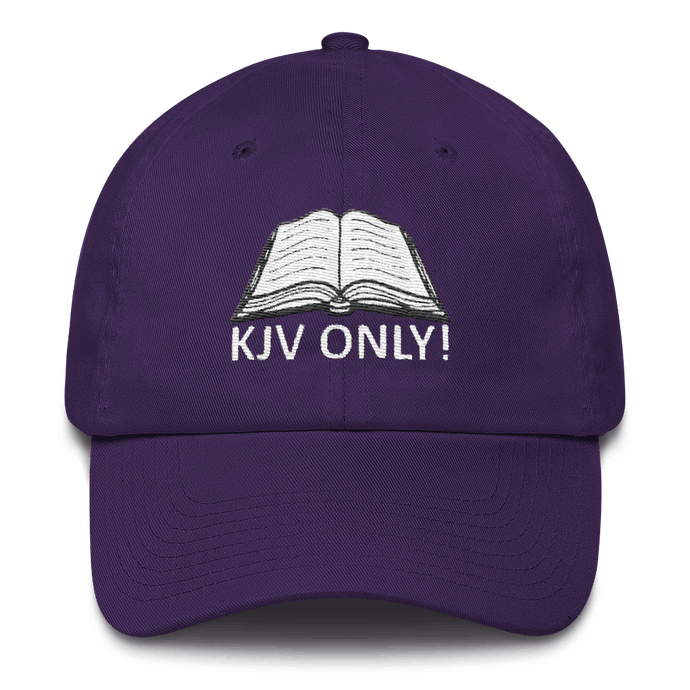 American Patriots Apparel Adjustable Strap Hat Purple KJV Only! (WHITE TEXT) Psalm 12:6-7 (WHITE TEXT) Adjustable Strap Hat (6 Variants)