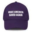 Load image into Gallery viewer, American Patriots Apparel Adjustable Strap Hat Purple MAKE AMERICA SAVED AGAIN 1 Cor. 15:1-4 Adjustable Strap Hat (5 Variants)