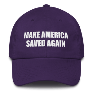 American Patriots Apparel Adjustable Strap Hat Purple MAKE AMERICA SAVED AGAIN 1 Cor. 15:1-4 Adjustable Strap Hat (5 Variants)