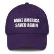 Load image into Gallery viewer, American Patriots Apparel Adjustable Strap Hat Purple Make America Saved Again God Bless America Adjustable Strap Hat (5 Variants)