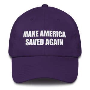 American Patriots Apparel Adjustable Strap Hat Purple Make America Saved Again God Bless America Adjustable Strap Hat (5 Variants)