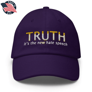American Patriots Apparel Adjustable Strap Hat Purple TRUTH It's The New Hate Speech White & Yellow Text Adjustable Strap Hat (7 Variants)