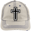 Load image into Gallery viewer, CustomCat Adjustable Strap Hat Putty/Navy / One Size The Cross 6990 Distressed Unstructured Trucker Cap (7 Variants)