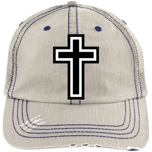 CustomCat Adjustable Strap Hat Putty/Navy / One Size The Cross 6990 Distressed Unstructured Trucker Cap (7 Variants)